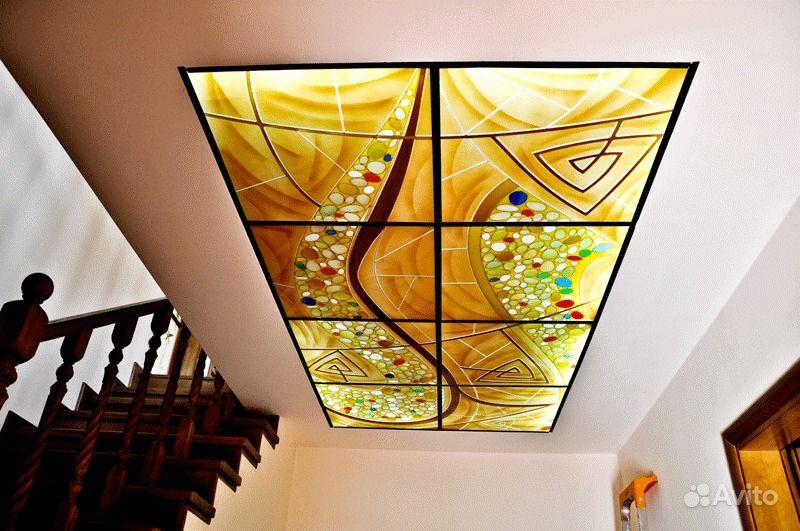 Витражный потолок с подсветкой своими руками 96