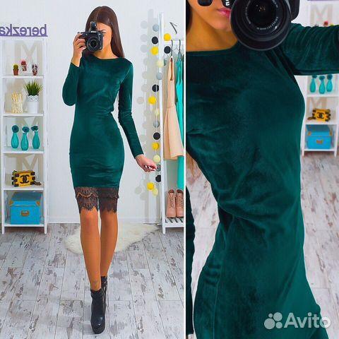 Платье с бархата с кружевом