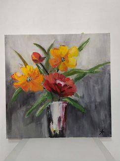 Картина Цветы в вазе объявление продам