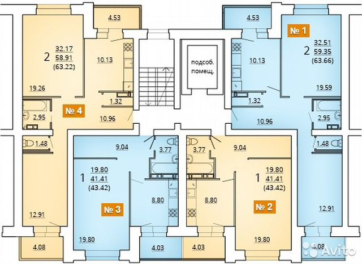 1-к квартира, 43 м², 2/4 эт. 84852303707 купить 1