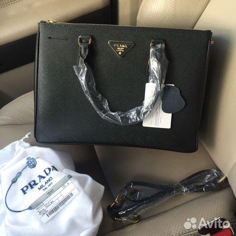 c14efcbcd5c6 Женская сумка Prada сафьяно черная купить в Москве на Avito ...