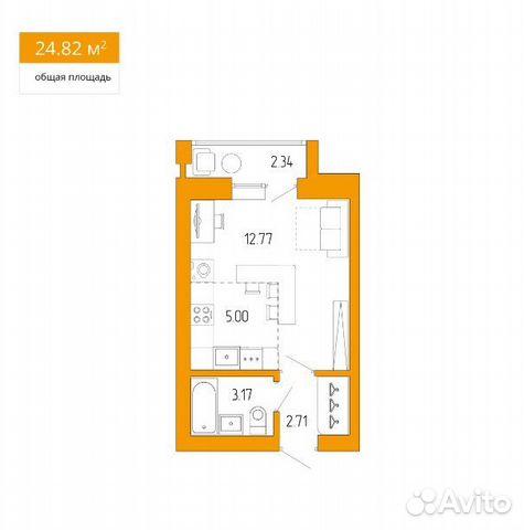 Продается однокомнатная квартира за 1 538 840 рублей. улица Кузнецовский Затон, 22.