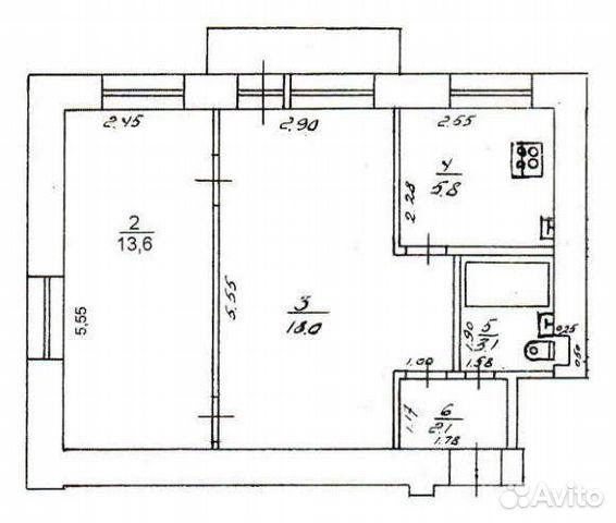 2-room apartment, 43 m2, 3/5 floor.  89127052555 buy 4