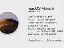 Macbook pro 2017 2.9 16 512 Radeon Pro 560