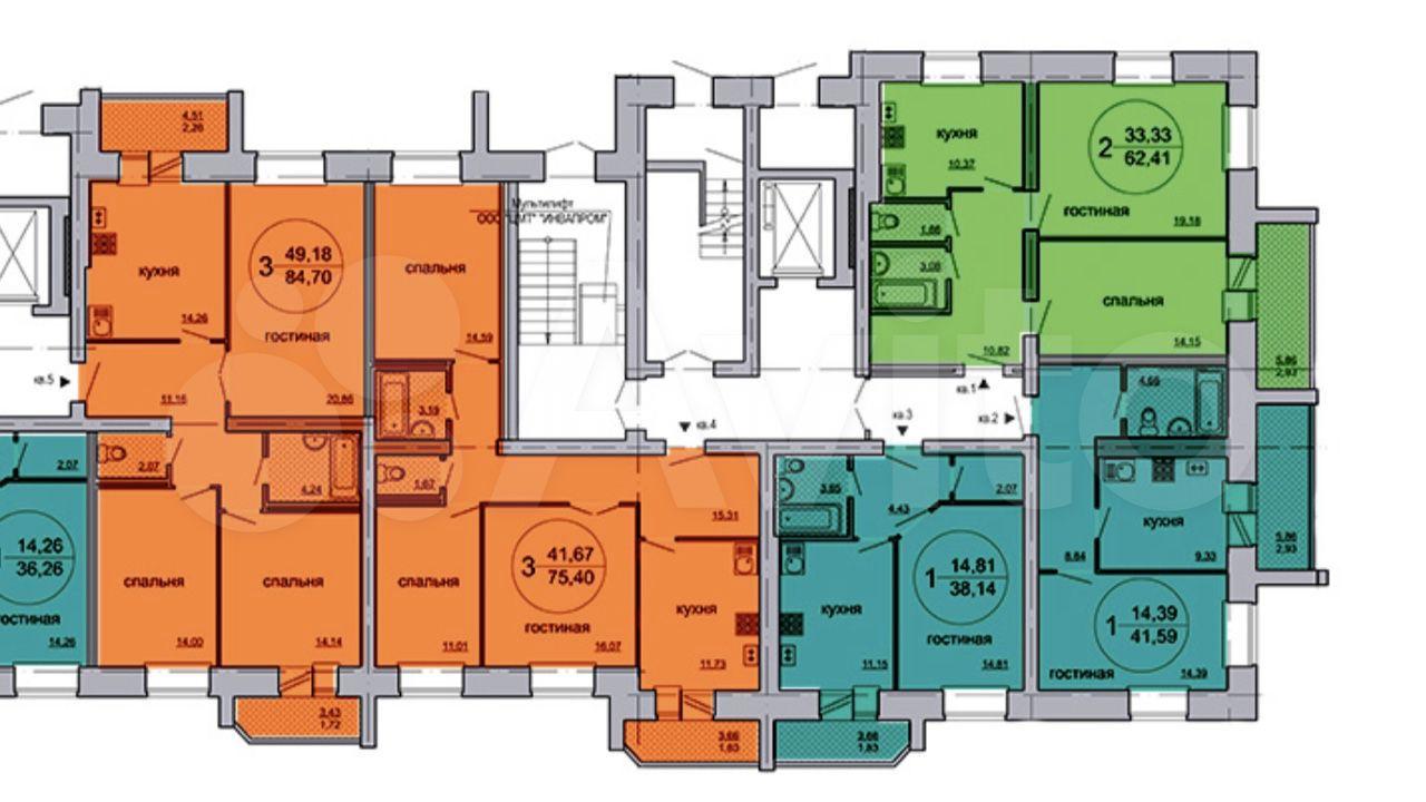 2-к квартира, 63 м², 7/9 эт.  89613370862 купить 2